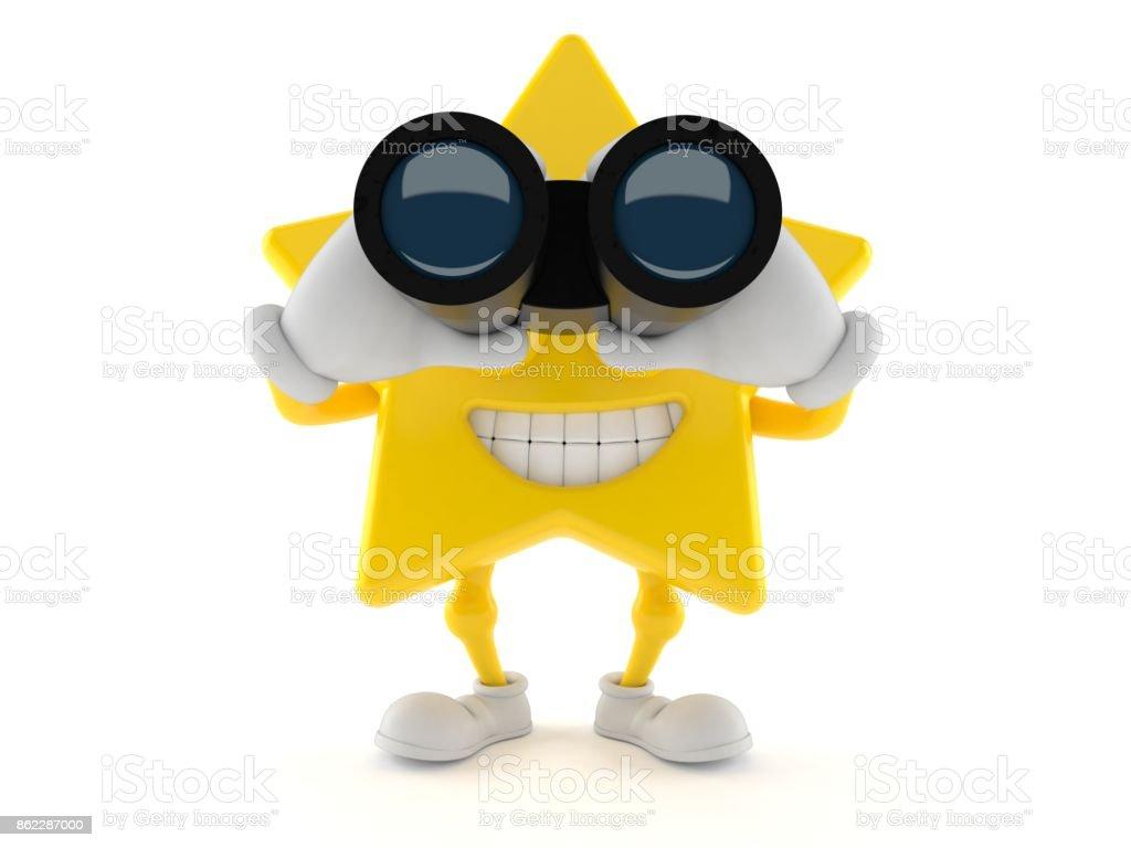 Star character looking through binoculars stock photo