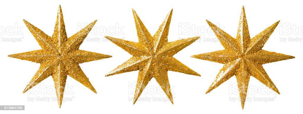 Star Christmas Decoration, Xmas Decorative Set, Glitter Ornament Isolated stock photo