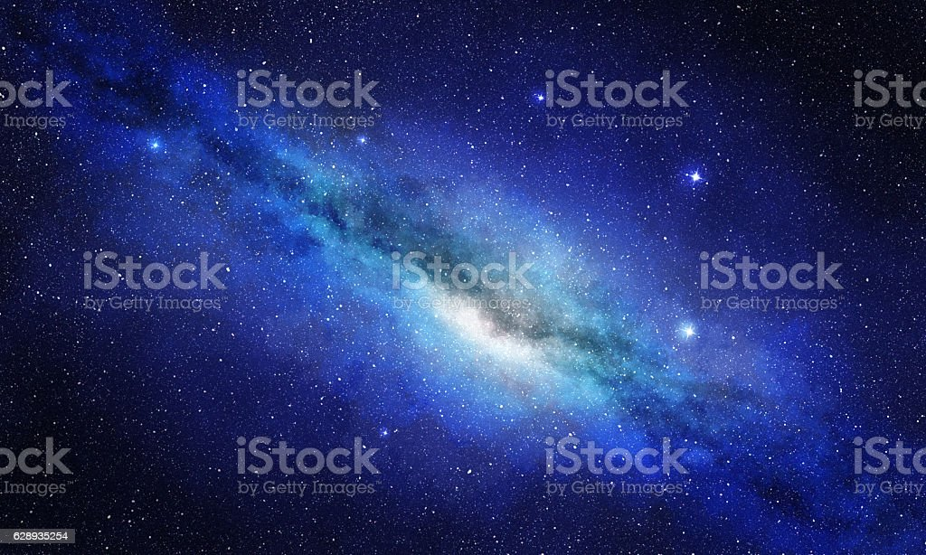 star cluster and plasma in blue space background stock photo
