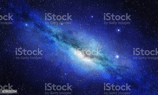 Photo of star cluster and plasma in blue space background