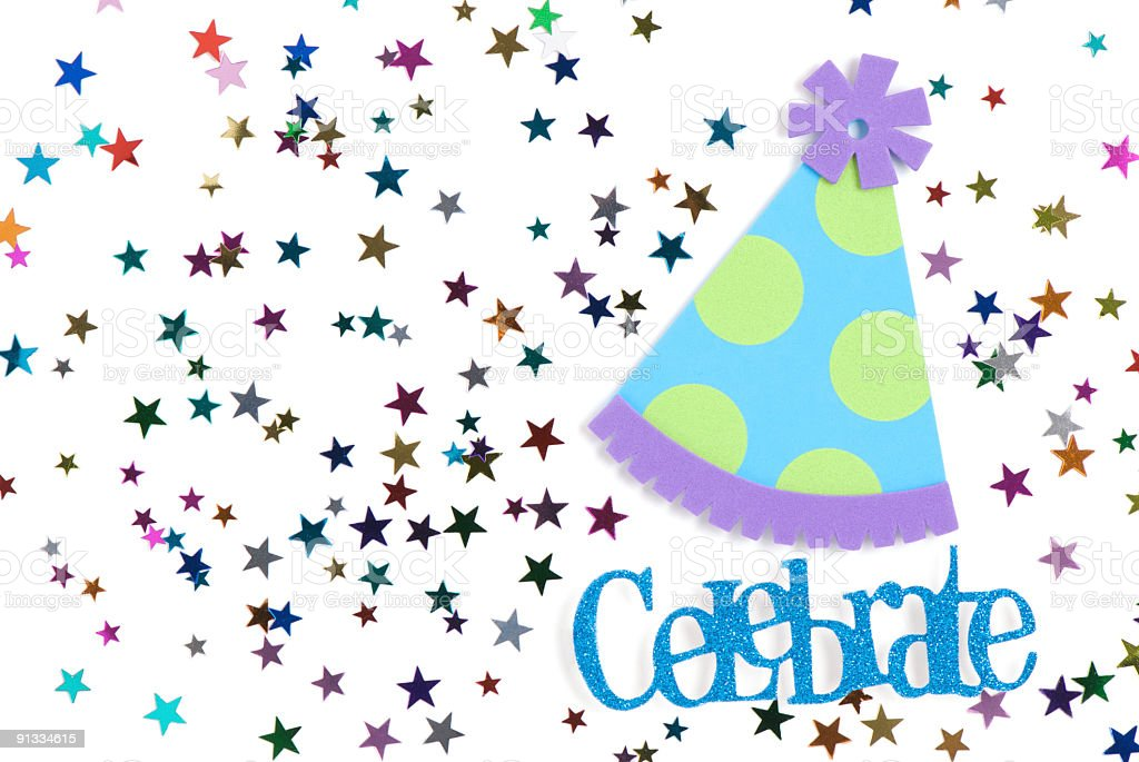 Star Confetti and Party Hat royalty-free stock photo