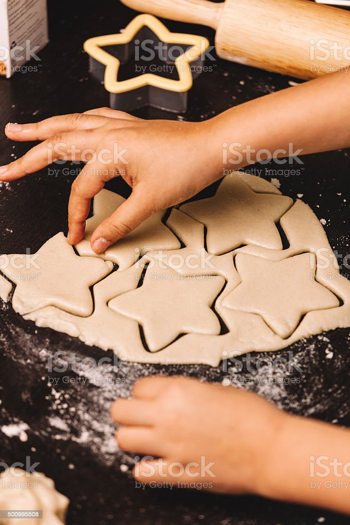 star cookies being made stock photo