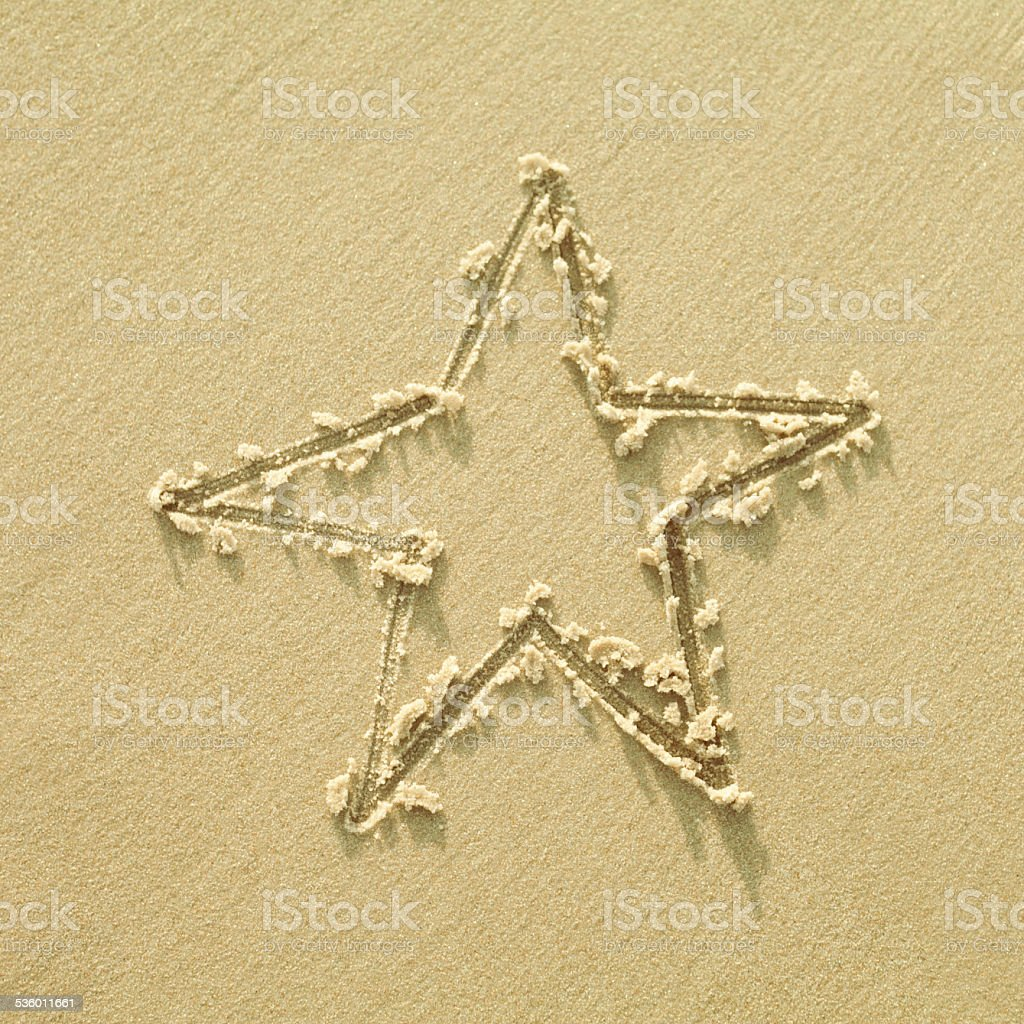 Star drown on sand. stock photo