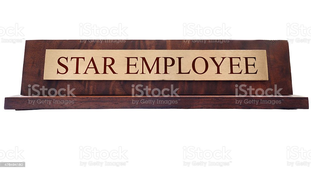Star Employee name plate stock photo