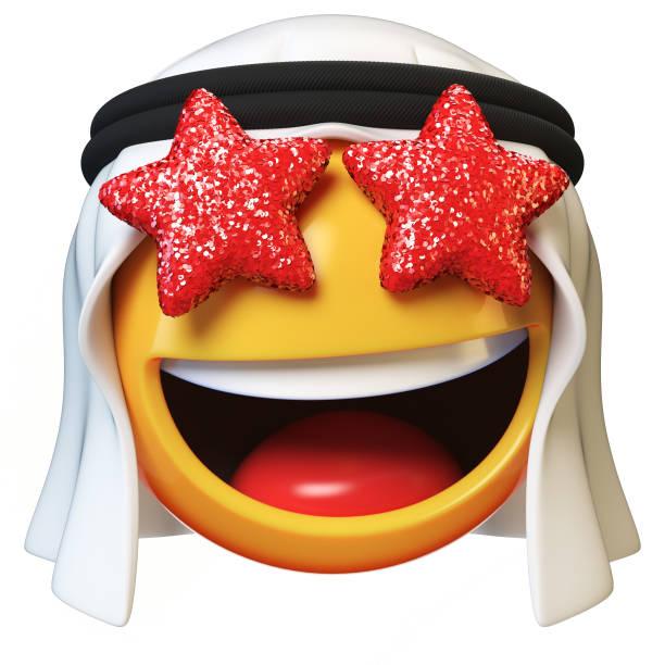 sterne-augen arabische emoji isoliert auf weißem hintergrund - schal mit sternen stock-fotos und bilder