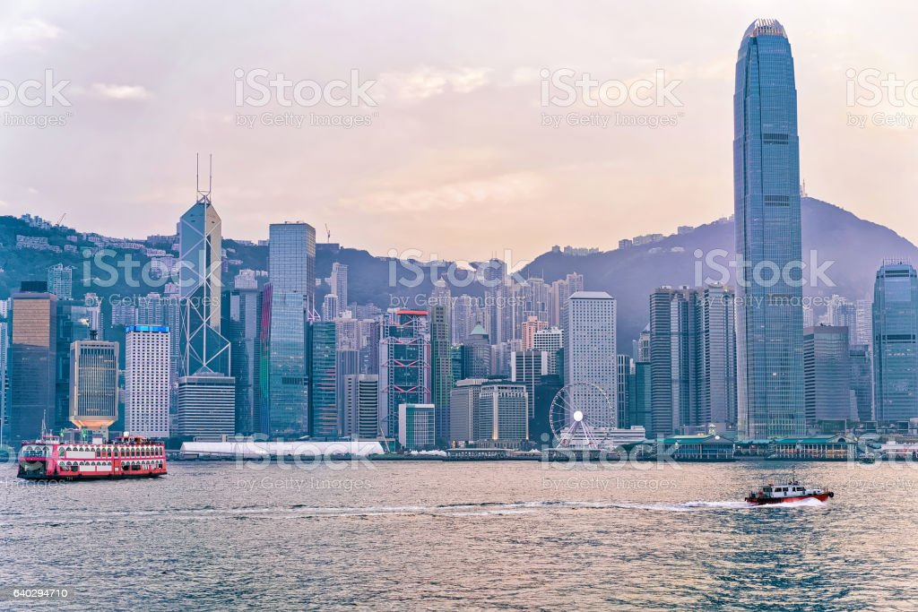 Star ferry and Victoria Harbor of HK stock photo