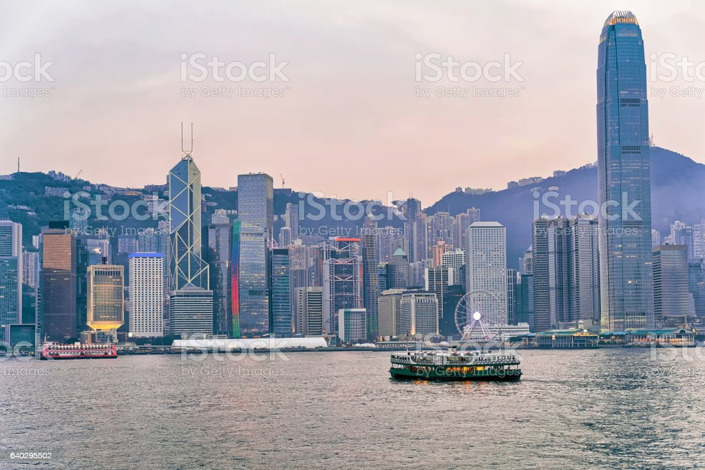 Star ferry and Victoria Harbor of Hong Kong stock photo