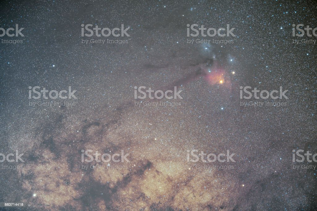 Star field and nebulae in Rho Ophiuchus Captured stock photo