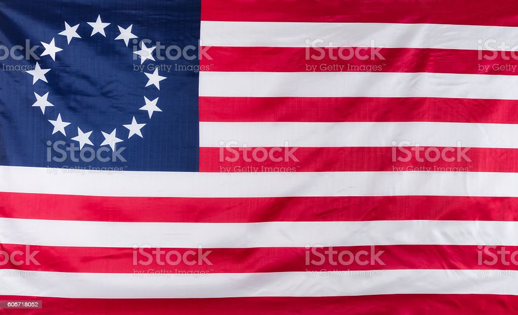 13 star flag for the original colonies of America stock photo
