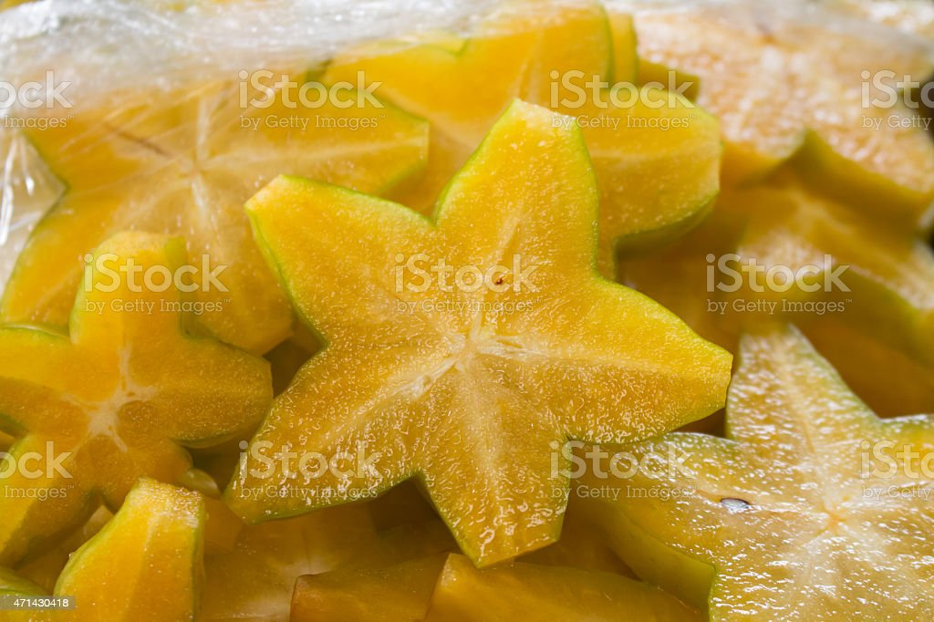 Star fruit on a plate stock photo