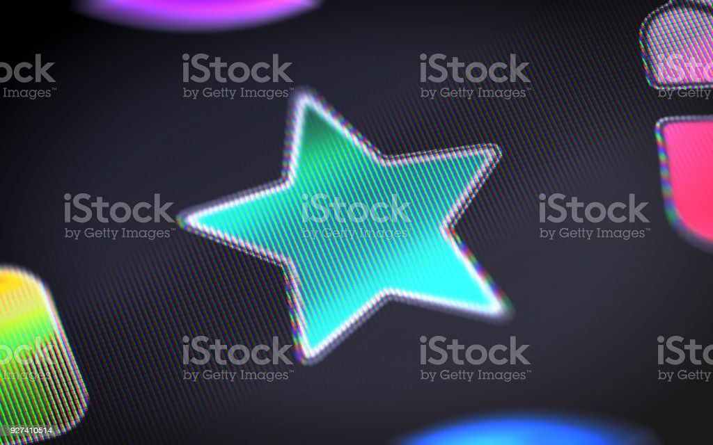 Star icon on the screen. stock photo