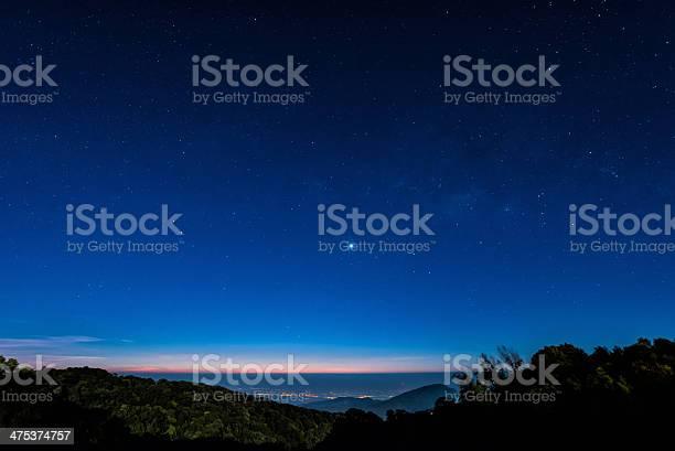 Photo of Star in blue sky night time scene