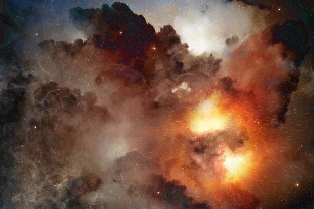 star light shining in a cosmic nebula - flare foto e immagini stock