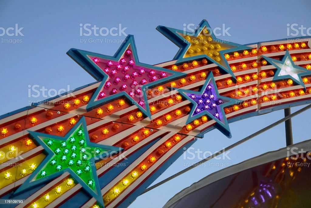 star lights in an amusement park sign royalty-free stock photo