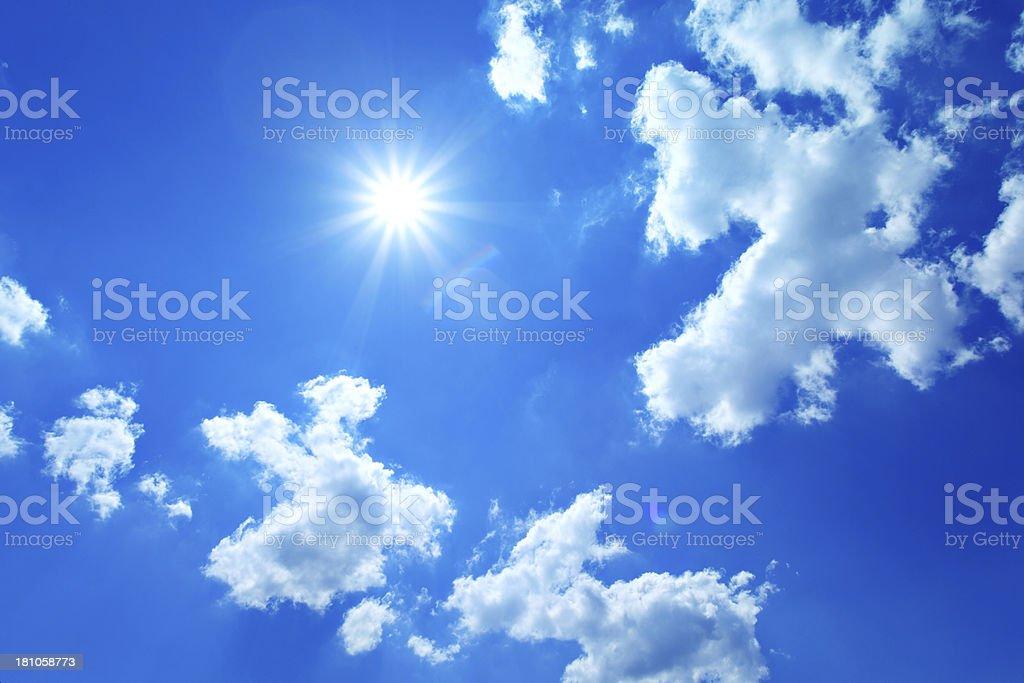 Star - like sun on blue sky. stock photo