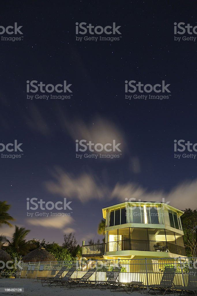 star long exposure with summer beach house royalty-free stock photo