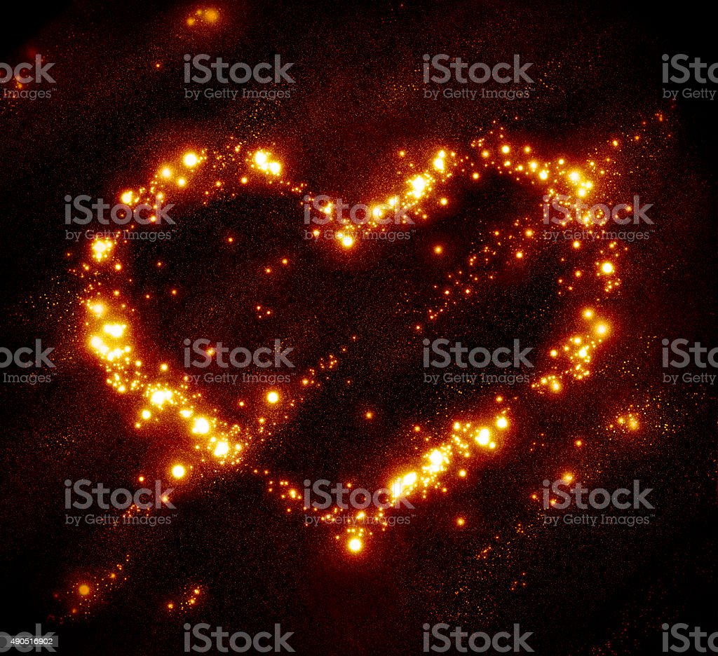 Background with stars and star clusters in the form of heart