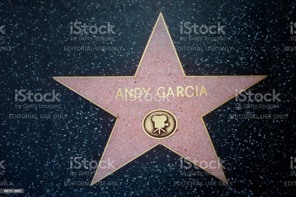 Star of Andy Garcia at the pavement of the Walk of Fame in Hollywood stock photo