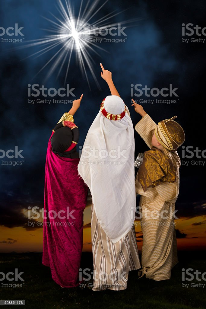 Star of Bethlehem and wisemen stock photo