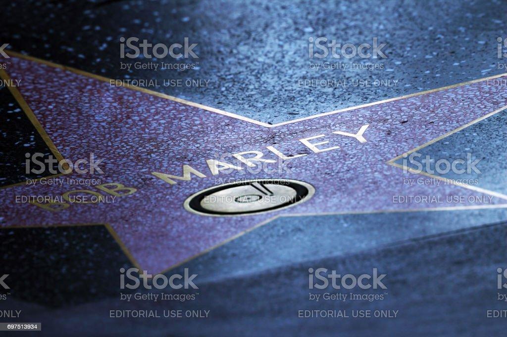 Ster van Bob Marley op de stoep van de Walk of Fame in Hollywood foto