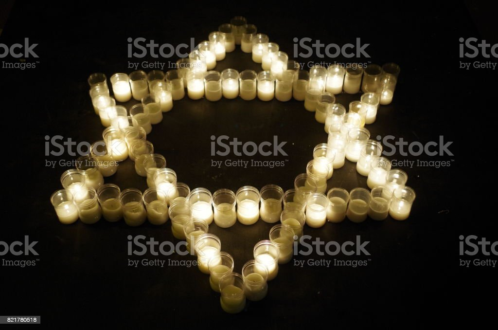 Star of David mae with candles stock photo