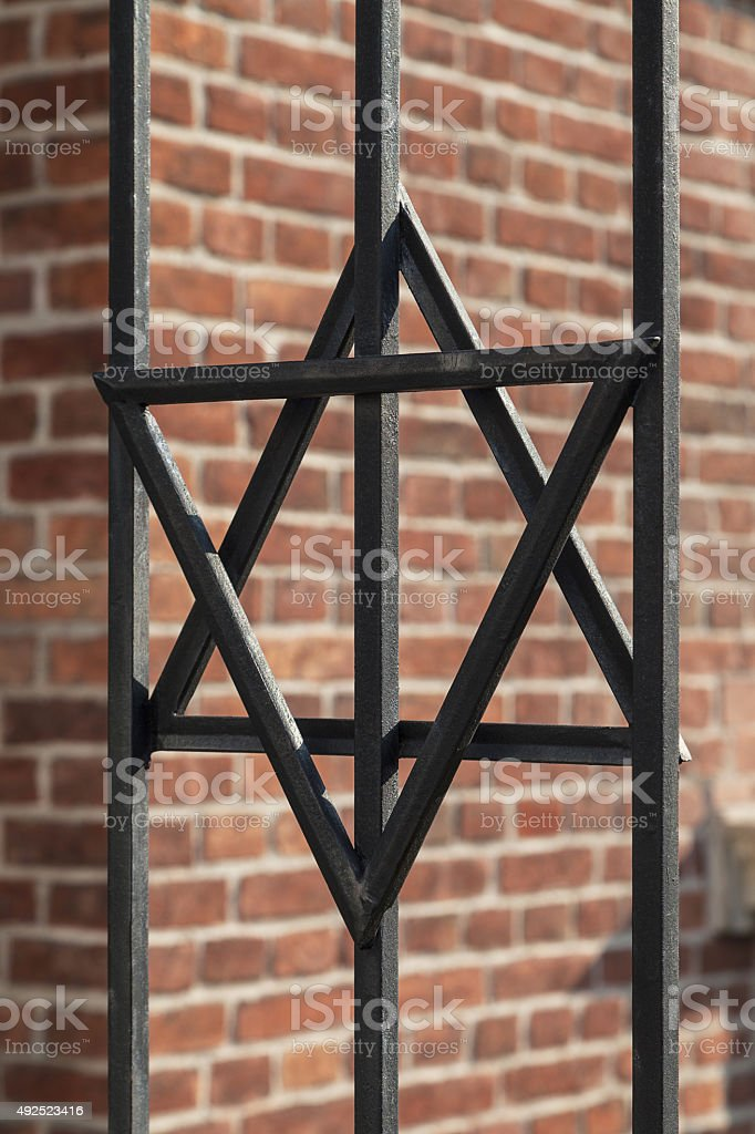 Star of David on metal fence  in Cracow , Poland stock photo