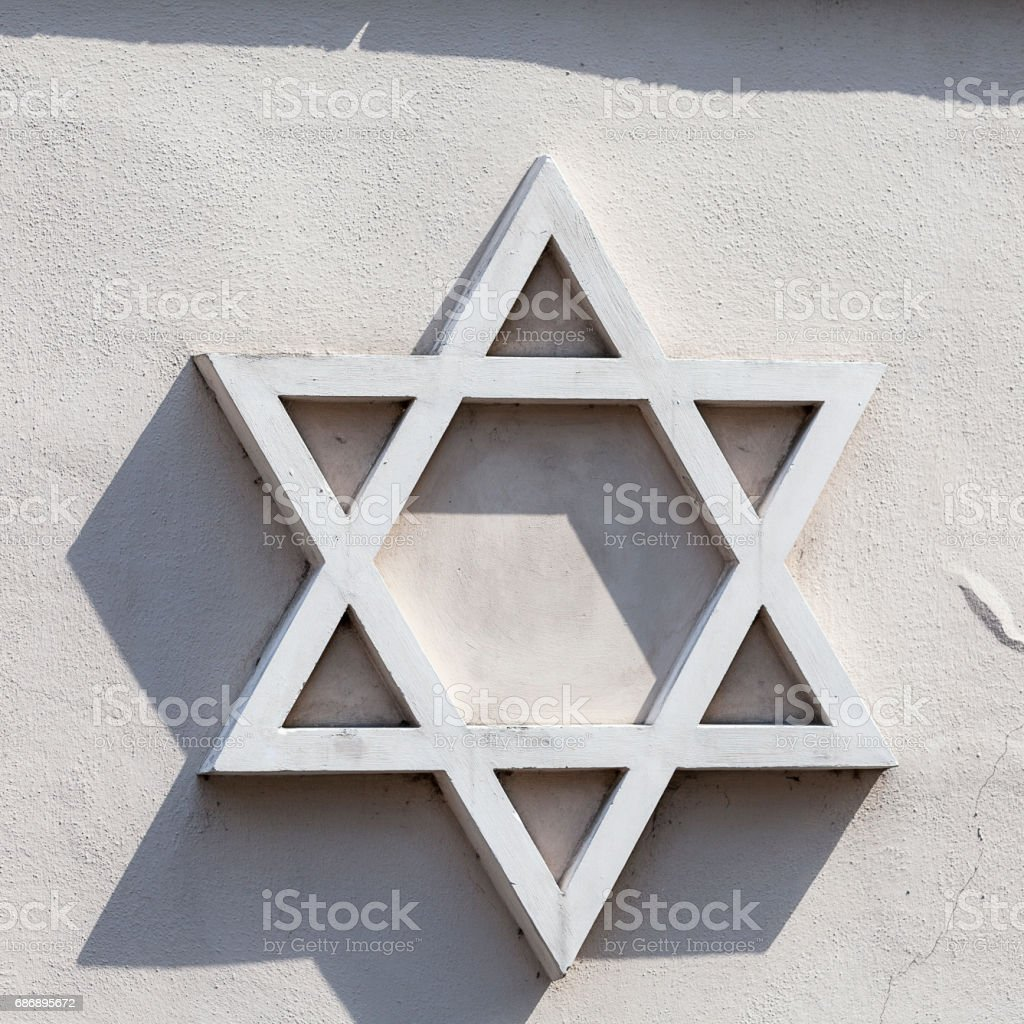 Star of David -relief on facade of synagogue, Josefov,Jewish quarter of Prague, Czech Republic, Europe stock photo