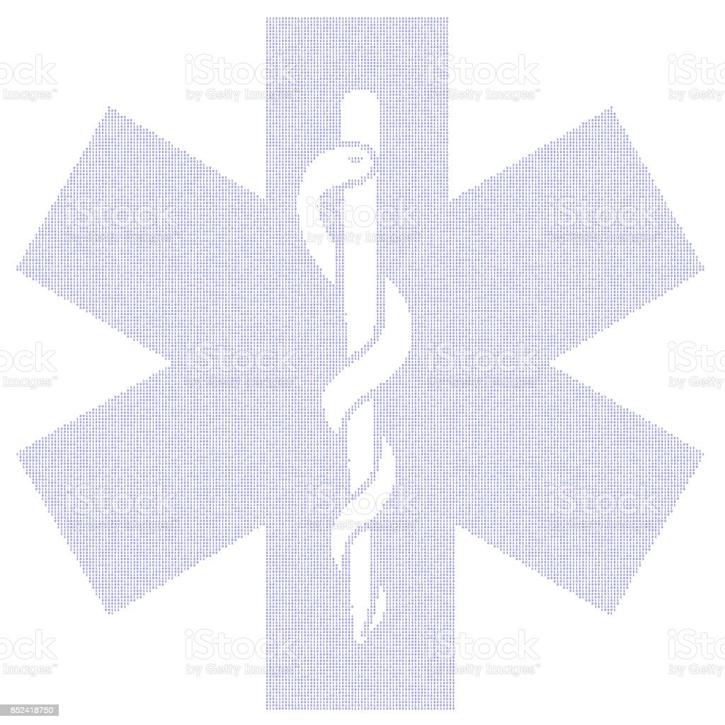 Star of Life Symbol in Binary stock photo