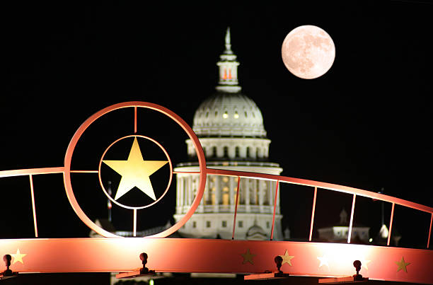 Star of Texas with the State Capitol Building at Night stock photo