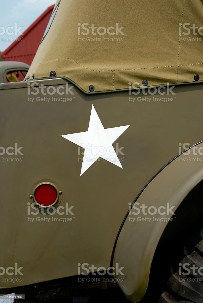 Star on Restored Military Vehicle stock photo