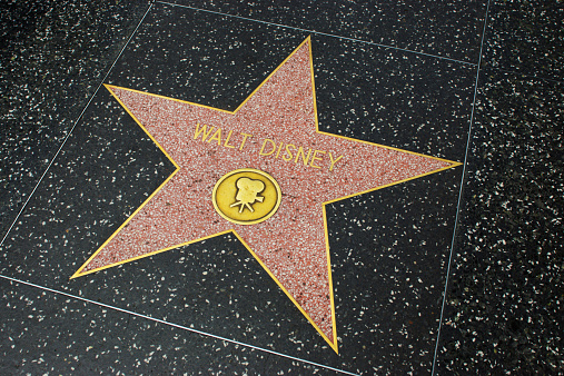 Hollywood, USA - April 18, 2014: Walt Disney star on Hollywood Walk of Fame in Hollywood, California. This star is located on Hollywood Blvd. and is one of over 2000 celebrity stars embedded in the sidewalk.