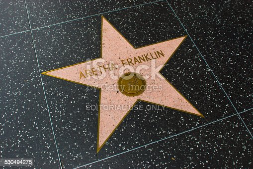 Los Angeles, USA - April 18, 2014: Aretha Franklin star on Hollywood Walk of Fame in Hollywood, California. This star is located on Hollywood Blvd. and is one of over 2000 celebrity stars embedded in the sidewalk.
