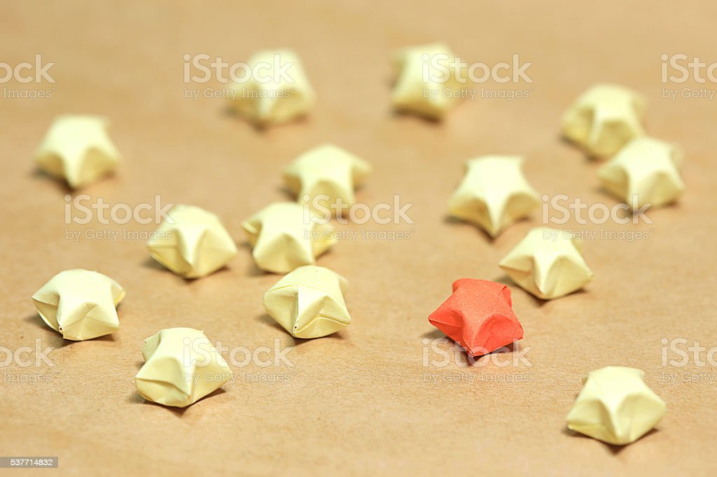 Star paper folding in old paper background stock photo