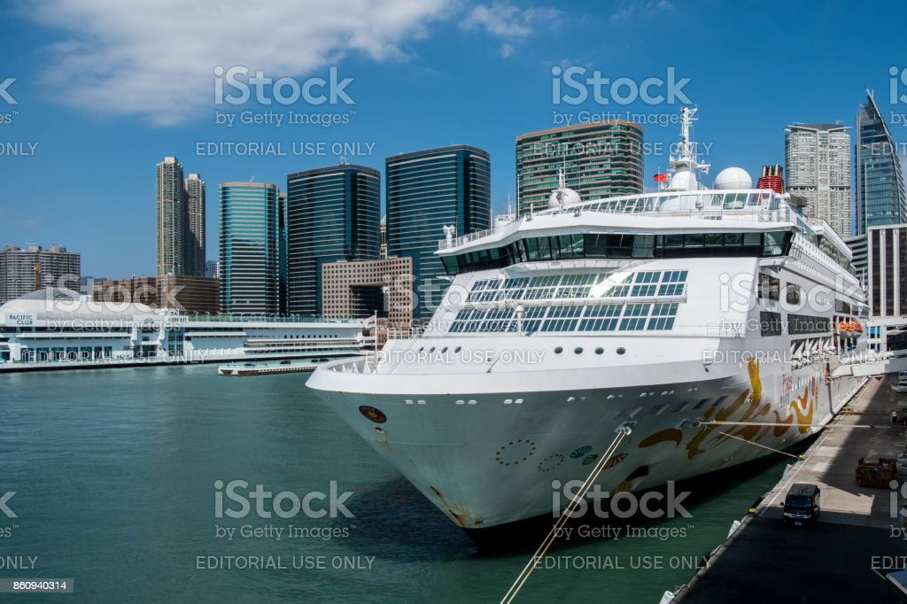 Star Pisces parking at Ocean Terminal building at afternoon stock photo