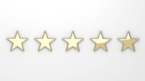 star rating - golden stars on white background – Foto