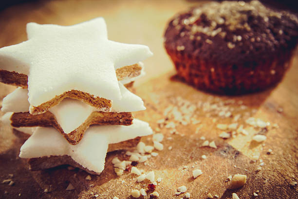 Star Shape cookies and Chocolate Chip Muffin stock photo