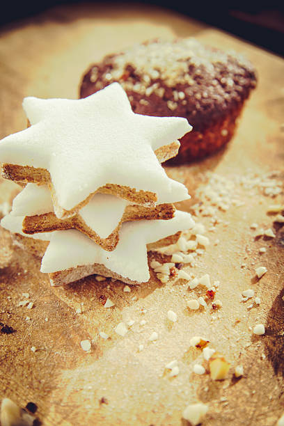 Star Shape cookies and muffin stock photo