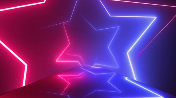 sternform, flug durch neontunnel, bewegte mode podium, abstrakte hintergrund, spinning frames, virtuelle realität, glühende linien. - popmusiker stock-fotos und bilder