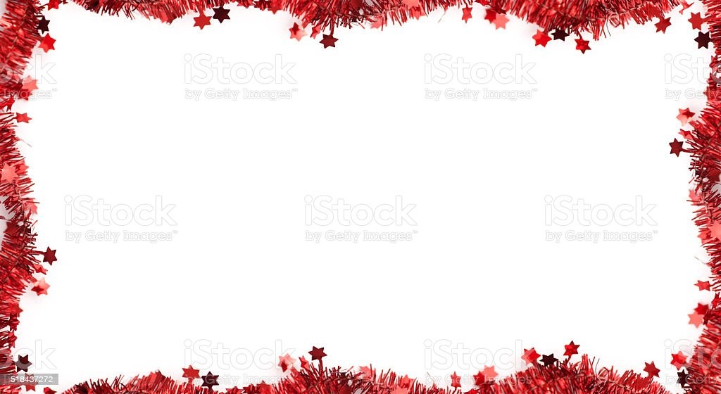 Star shape tinsel frame on white stock photo