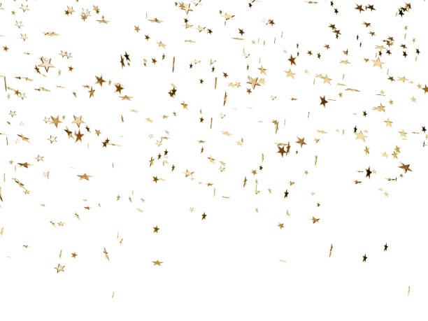 star shaped confetti falling over white background - confetti stock pictures, royalty-free photos & images