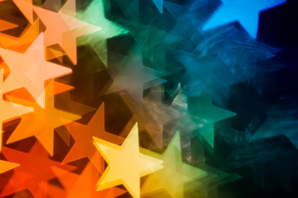 Star shaped defocused Christmas Lights - Bokeh Backgrounds Colorful Abstract stock photo
