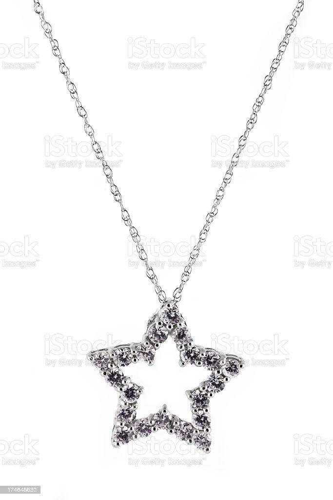 star shaped diamond necklace isolated royalty-free stock photo