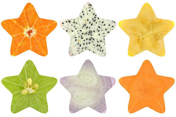 star shaped fruit and vegetable - cactus lime bildbanksfoton och bilder