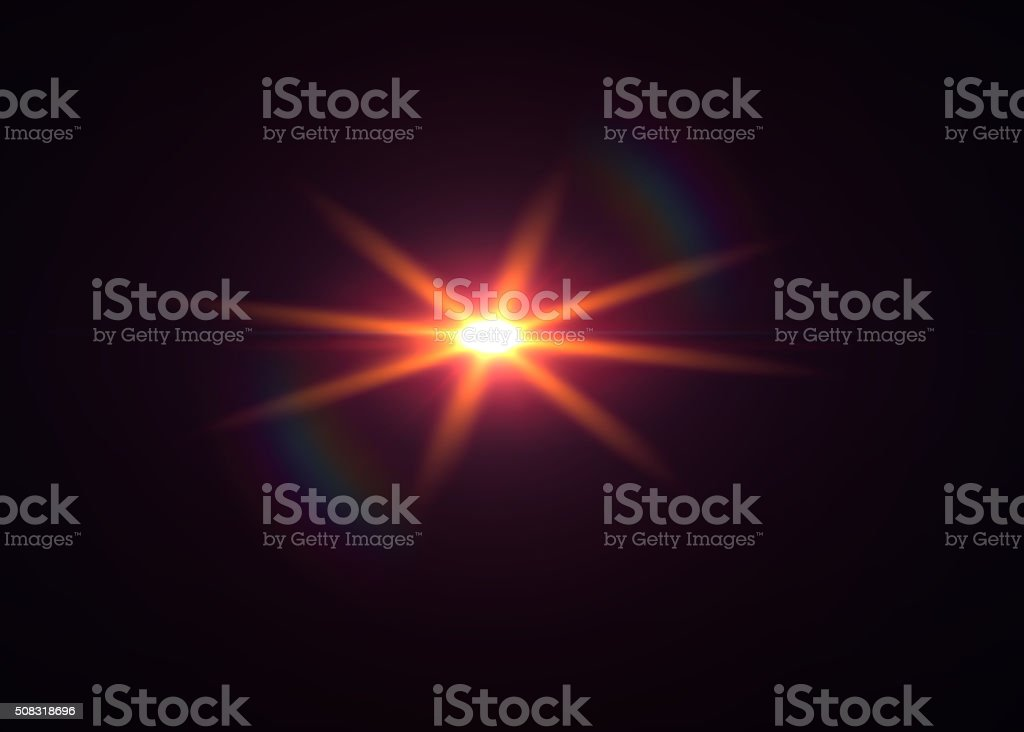 Star Shaped Lens Flare on Black Background - High Resolution stock photo