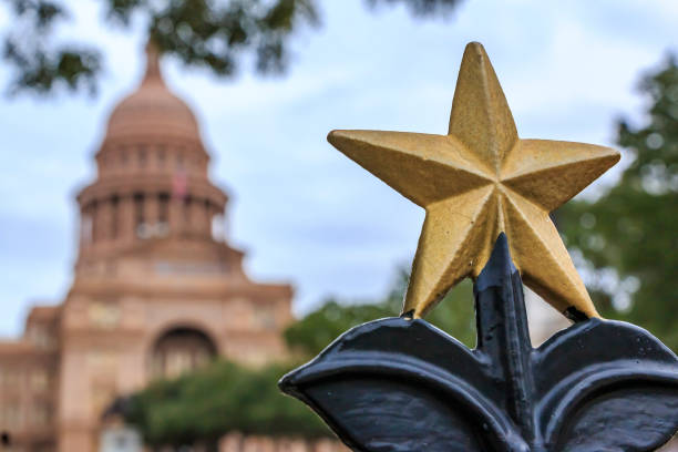 Star shaped ornament in front of the Texas State Capitol Building in Austin, TX stock photo