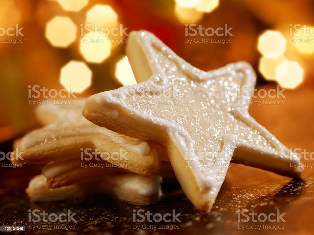 Star Shaped Sugar Cookies at Christmas Time royalty-free stock photo