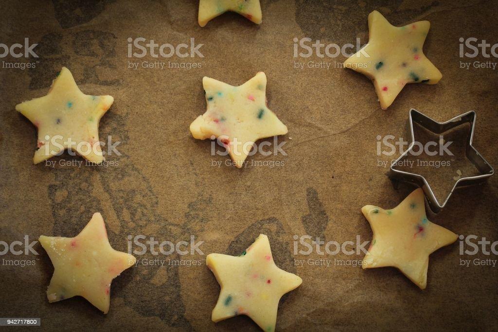 Star Shaped Xmas Raw Sugar Cookies Ready To Bake Christmas Baking Stock Photo Download Image Now