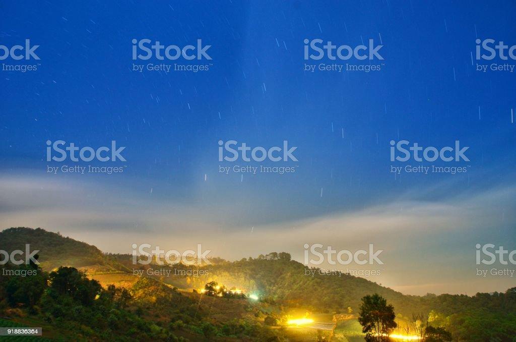 Star trail in Chiangmai Thailand stock photo