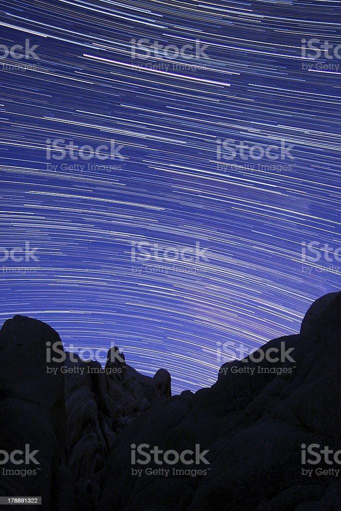Star Trail Streaks in Joshua Tree Park stock photo