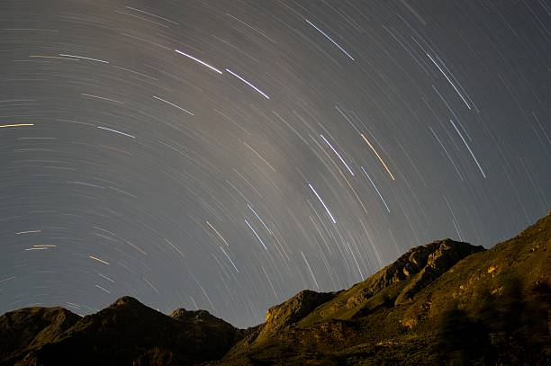 Star Trailing in the Andes Mountains; Ayacucho, Peru stock photo